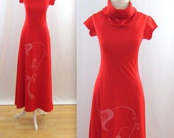 Vintage 1970s Jersey Maxi Dress in Red w/ cap Sleeves - Small