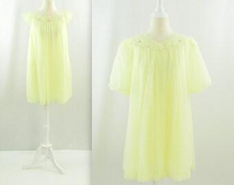 Lemon Chiffon Babydoll Peignoir Set - Vintage 1950s Yellow Nightgown Robe Set in Large by Shadowline