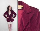Burgundy VELVET Blazer 1970s Peck & Peck Claret Red Size S M