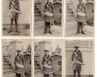 Boy With Tenor Drum 6 Antique Snapshots With Negatives Music Memorabilia Antique Photographs Paper Ephemera Musical Instrument