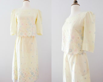 1940s Pastel Floral Embroidered Cotton Skirt and Crop Top // 40s Paisley Two-Piece Set