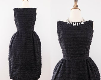 1950s Layered Lace Black Ruffle Cocktail Dress // 50s Hepburn Wiggle Dress