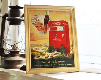 1950s Coca Cola Advertising Vintage Mid Century Coke Ad Framed
