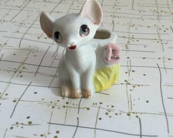 50's Ceramic Hairless Sphynx Cat Cornish Rex Toothpick Holder Dimestore Kitsch Japan