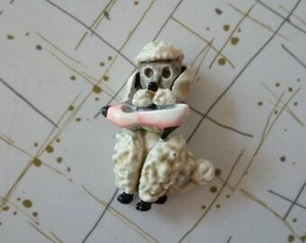 50's Poodle Pin Novelty Brooch Enamel High Heel Dog