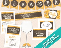 Instant Download Printable Thanksgiving and Bunco Decoration Set