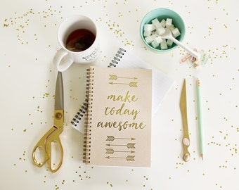 Real Gold Foil Personalized Spiral Notebook/Journal - Make Today Awesome - Gold Foil Notebook