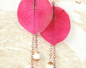 Natural Flower Jewelry - Fuchsia Bougainvillea Pressed Flower Petal Earrings with White Brown Glass Beads