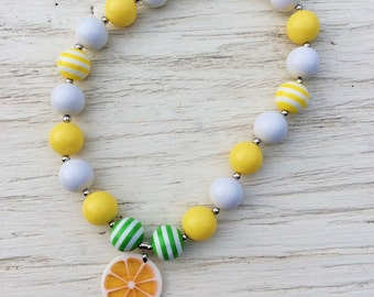little girl chunky bead necklace green  yellow white bubble gum chunky baby necklace big girl necklace big bead necklace