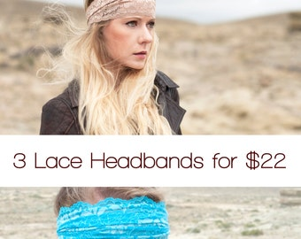Gift Set Headband Set 3 for 22 Wide Lace Headbands Adult Headband Womens Gift for Her Set Womens Gift  Wide Head band Yoga Gift Running Gift