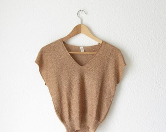 Vintage v neck blouse 90s Crop top Womens slouchy shirt