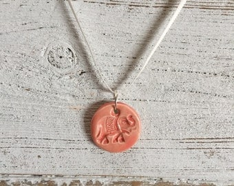 Elephant Pendant, Ceramic, Coral, Zen Jewelry, Bohemian Jewelry, Elephant Jewrlry, Gift for Her, Unique Gift, Ceramics, Ceramic Jewelry