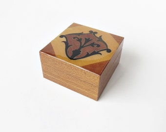 Small Square Marquetry Two Tone Wooden Box - Trinket Box - Wooden Trinket Box
