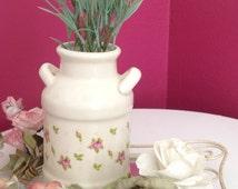 Vintage Ceramic Vase with Roses, Small Porcelain Roses Crock, Floral Jug, Decorative Milk Jug, Pencil Holder