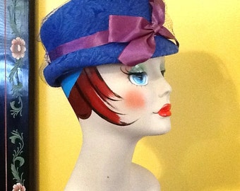 Vintage Royal Blue Damask Netted Pillbox Hat With Purple Bow and Blue Netting Mid century