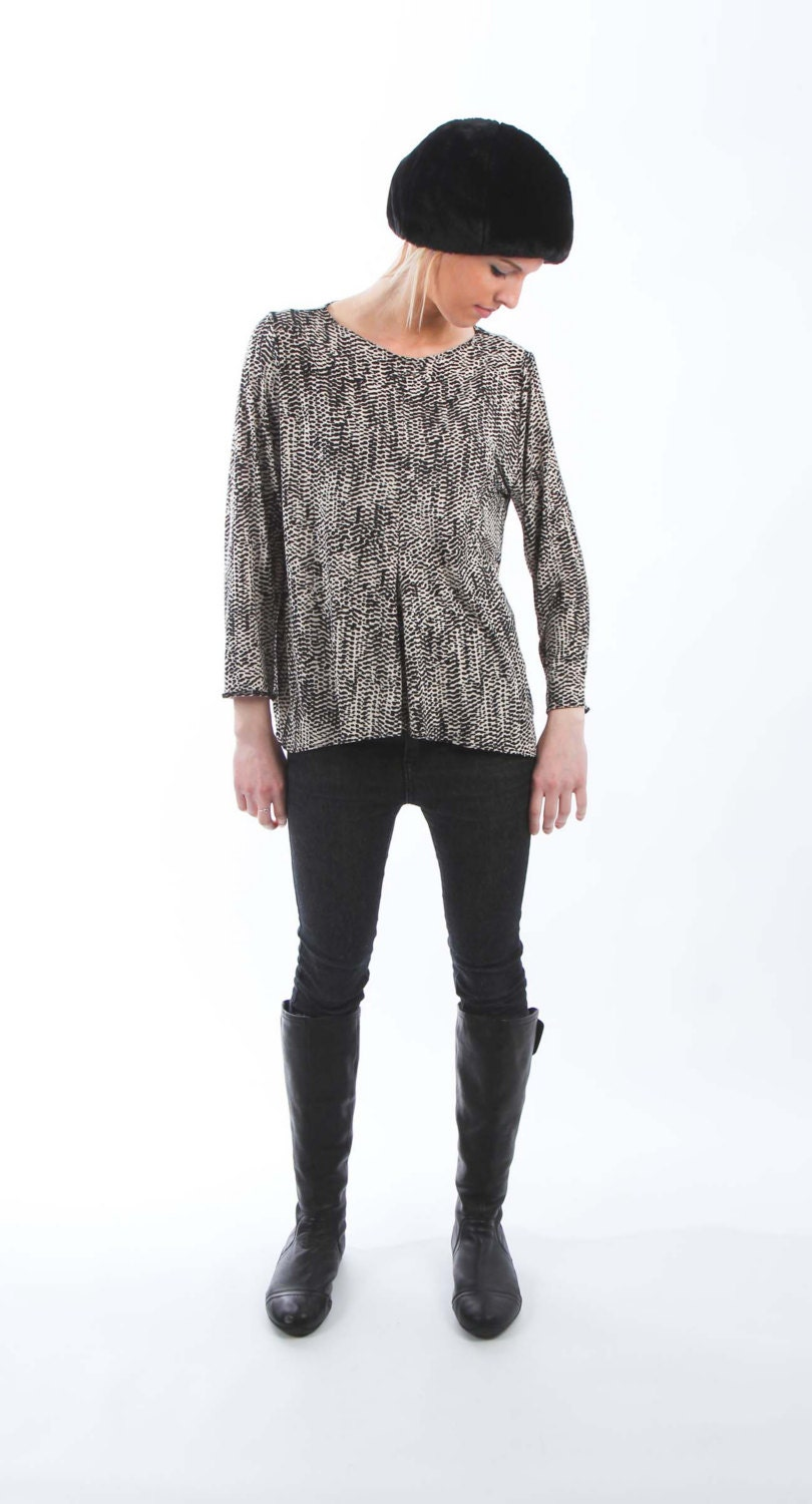 Super Soft Black and White Jersey Top with Center Front and Center Back Seam and Uneven Hemline