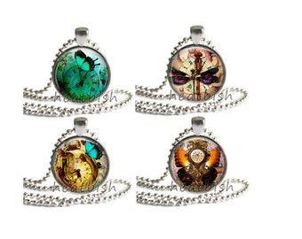 STEAMPUNK DREAMS Fantasy Glass Pendant Charm Accessory - Necklace, Keychain, Magnet, Cell Phone Strap - Vintage Watch Clock Gear Butterfly