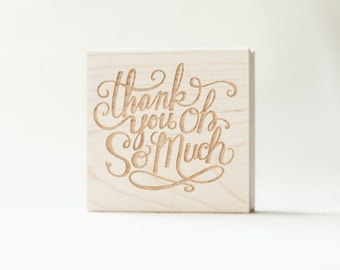 Thank You Stamp Wooden Rubber Hand Lettered Hand Drawn Calligraphy