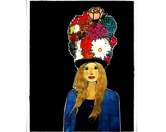 Modern Contemporary Portrait of a Lady with Flowers Illustration Hipster Large Small Statement Piece