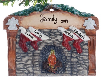 Family of 4 stockings Christmas ornament - personalized free -  wood tone fireplace mantel ornament - rock fireplace Christmas ornament (107