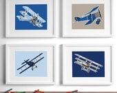 airplane nursery art for boys, airplane nursery decor - set of 4 vintage children's art, baby boy nursery art - childrens art