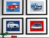 Children's art car drawings - transportation modern wall art - set of 4 sports cars - boys art prints - nursery art prints