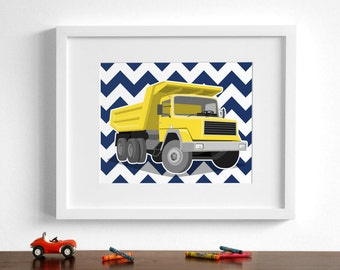 Dump truck drawing art . Construction Children's art - pick your colors - construction zone wall art  - boys nursery art prints