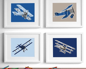 airplane nursery art for boys, airplane nursery decor - set of 4 vintage children's art, baby boy nursery art - childrens art