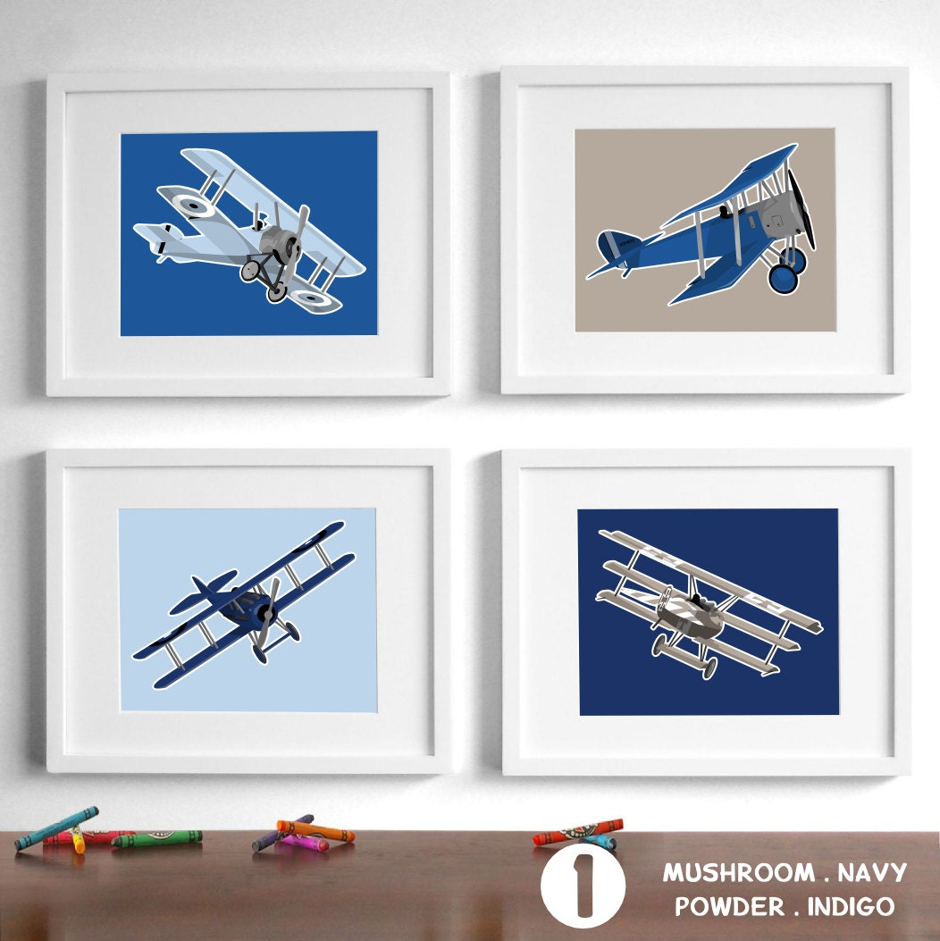 Airplane nursery art for boys airplane nursery decor set of Vintage airplane decor for nursery