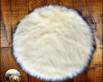 Faux Fur Sheepskin Rug - Round - Shaggy - Soft - Thick White - Off White - Shag - Fur Accents Designer Rugs and Throws USA
