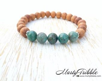 Jade Bracelet, Boho Bracelet, Wood Bracelet, Gemstone Bracelet, Jade Jewelry, Healing Crystal Jewelry, Wooden Jewelry, Gemstone Jewelry