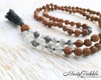 LAST ONE! Gray Quartz Rudraksha Mala Necklace, Mala Beads, 108 Mala Beads, Rudraksha Mala, Boho Jewlery Mala Beads Necklace Buddhist Jewelry