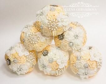 Wedding Toss bouquet, Ivory bouquet, Wedding Accessories, Wedding set.
