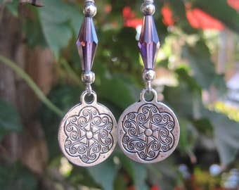Mandala Charm Boho Earrings - Amethyst Colored Crystal Earrings