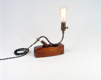 Industrial Lamp Accent Lighting Weathered Wood Plane
