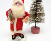 Vintage 1940's 4 Inch SANTA With Hand Painted Clay Face,  Holding Feather Tree