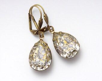 Gold Rhinestone Earrings, Hypoallergenic Earrings, Antiqued Brass Earrings, Rhinestone Drop Earrings, Crystal Rhinestone Jewelry, Eurydice