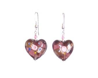 lampwork Glass Purple Heart Earrings, Murano Glass Purple Heart Rose Earring, Dangle Clip ons, Italian Jewelry, Sterling Leverbacks, For Her