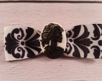 Black and White Damask Print Victorian Zombie Cameo Hair Bow