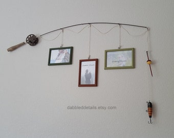 Fishing Pole Picture Frame - Brown Pole - 3 - 4 in x 6 in Picture Frames - Avocado, Burnt Sienna, Celery