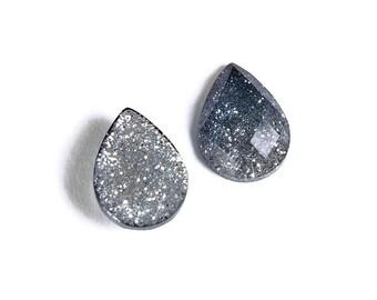 14mm x 10mm Blue silver teardrop cabochon - Gradient sparkly cabochon - Galaxy glitter cabochon - Kawaii cabochon (1709) -Flat rate shipping