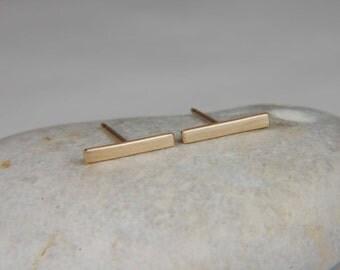 Solid Gold Earrings Minimalist Earrings Gold Line Earrings 14K Gold Earrings Gold Bar Earrings Minimalist Jewelry