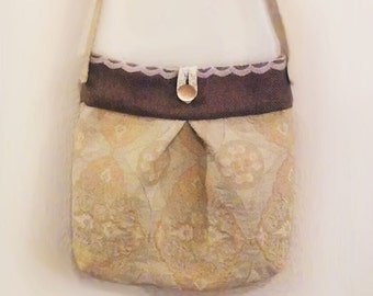 Jacquard Cross Body Shoulder Bag Purse Contrast with Cotton lining Shabby Chic
