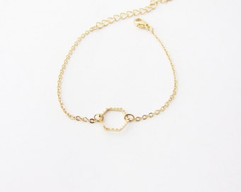 Hexagon Stackable Bracelet. Minimal fashion. Minimalistic jewelry. Gold Geometric Bracelet