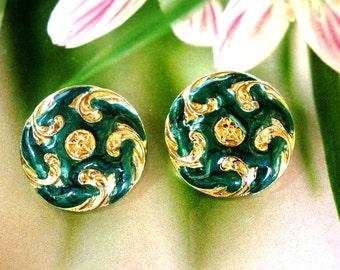Green Enamel Gold Tone Clip On Earrings 1980's Jewelry Swirled Enamel Clips