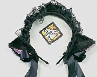 Black Cat Headband-Lolita Cat Headband-Lolita Headband-Neko-Cosplay-Cat Ears-Kitty Ears-Lolita Fashion-Harajuku-Rave- Festival- Gothic