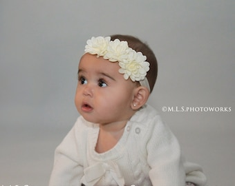 Free Shipping - Lovely Ivory Triple Flower Headband - Girl's Soft Ivory Hair Bows - Perfect for Special Occassion or for Every Day!