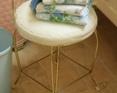 Vintage Bathroom Vanity Bench Stool Gold Brass Metal Scrollwork with White Vinyl Seat Romantic Retro Disco Chic