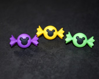 Candy Earrings -- Mickey Candy Studs, Halloween Earrings, Purple, Yellow or Green Candy Earrings, Choose your favorite pair!