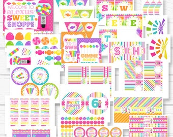 """Personalized Diy Sweet """"Candy Shoppe"""" Girls Birthday Party Digital Printable Party Package"""